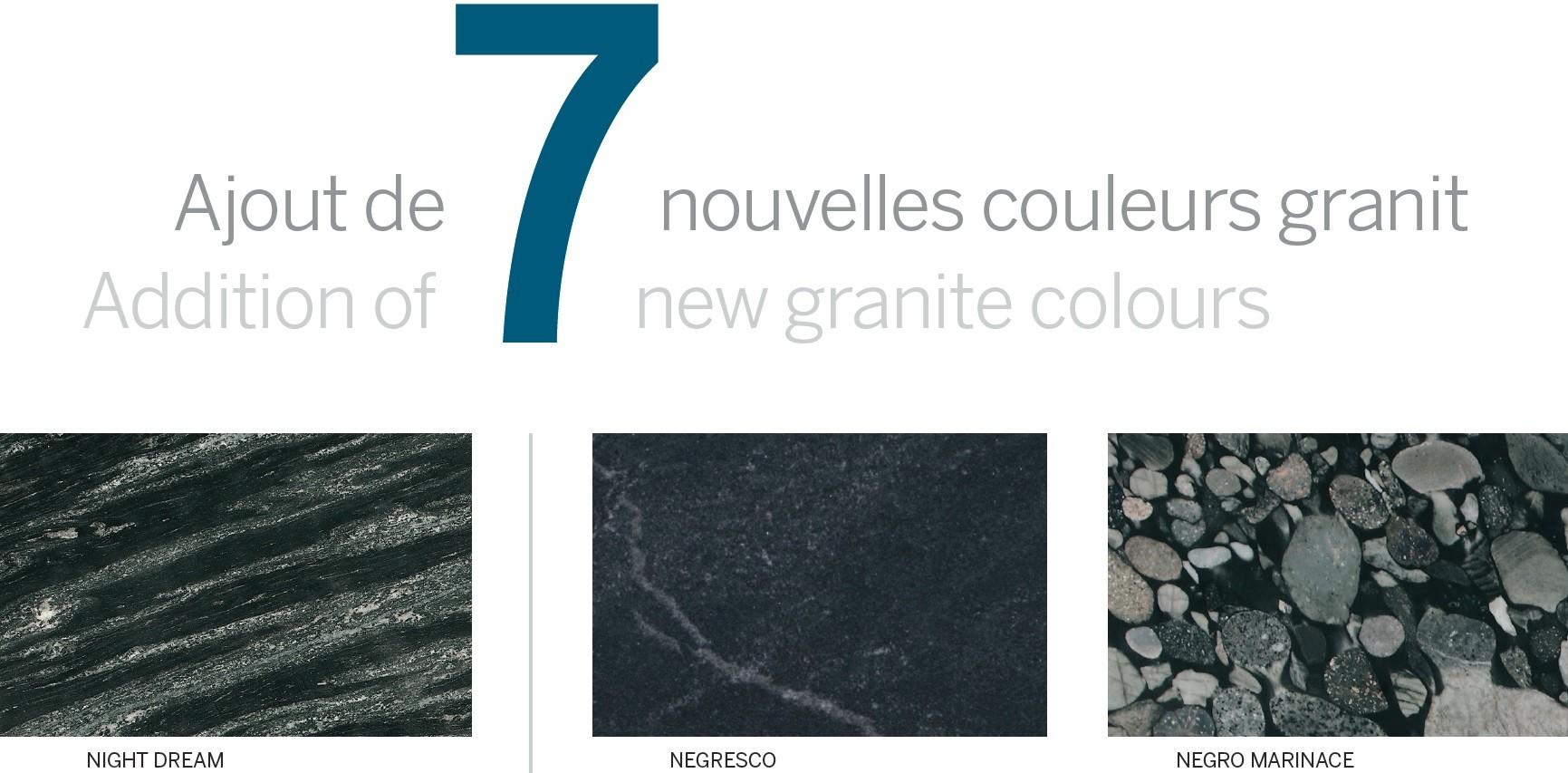 Prémoulé vous présente 7 nouvelles couleurs de granit.